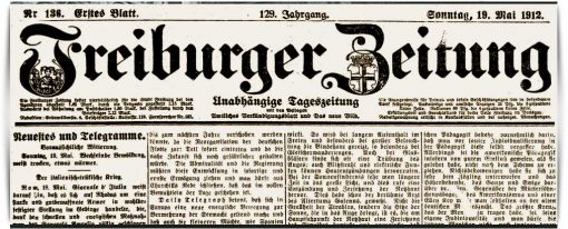 Freiburger Zeitung v. Mai 1912