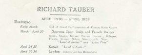 Tourdaten April 1938 – April 1939