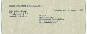 Otto Schneidereit schreibt an das Sächsische Tageblatt